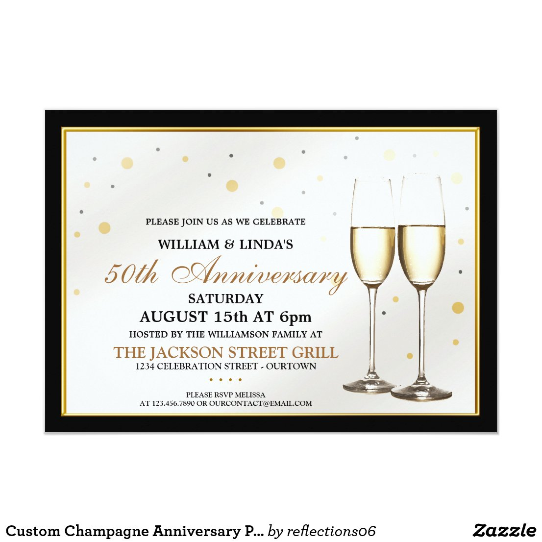 Custom Champagne Anniversary Party Invitations