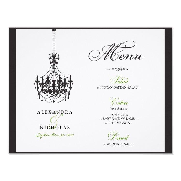 Custom Chandelier Wedding Reception Menu Card
