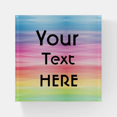 Custom Change The Image and Text Rainbow Picture Paperweight