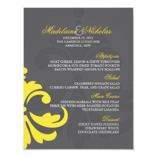 Custom charcoal and banana yellow damask wedding card