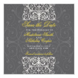 Custom charcoal and white vintage save the date 5.25x5.25 square paper invitation card