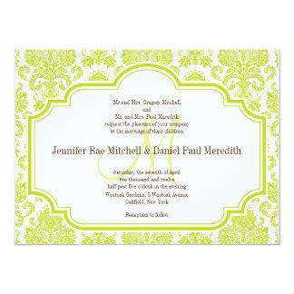 Custom Chartreuse Damask Wedding Invitations