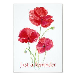 Custom - Check up Reminder - Dentist- Poppies 5x7 Paper Invitation Card