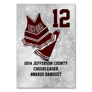 Custom Cheerleader Banquet Table Number Card