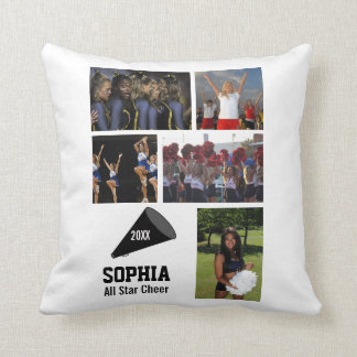 Custom Cheerleading Photo Collage Name Team Year Throw Pillow
