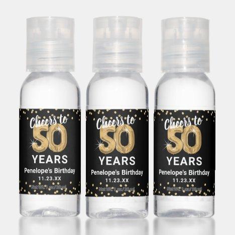 Custom Cheers to 50 Years Birthday Hand Sanitizer