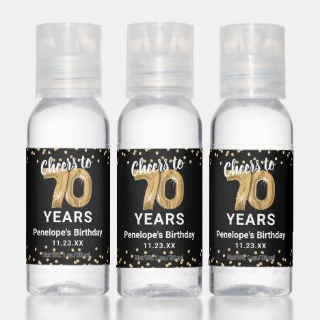 Custom Cheers to 70 Years Birthday Hand Sanitizer