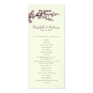 Custom Cherry Blossoms Order of Service (lilac) Card