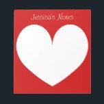 "Custom cherry red heart shape writing note pads<br><div class=""desc"">Custom cherry red heart shape writing note pads personalized with name. Cute memo pad design for women. Love heart symbol silhouette design.</div>"
