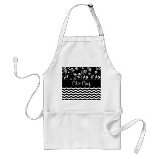 Custom Chevron and Floral Print Chef Aprons