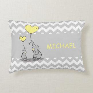 Custom Chevron Grey White Yellow Elephant Heart Decorative Pillow