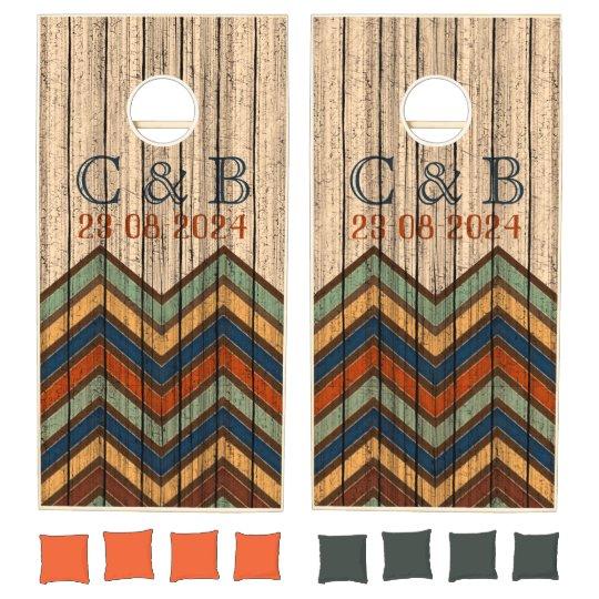 Custom Corn Hole Cheveron Pattern Wedding Themed Cornhole Boards