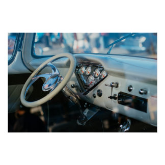 Custom Chevy truck steering wheel and dashboard Poster