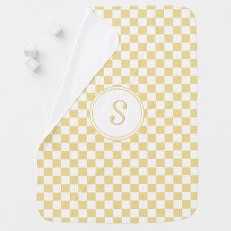 Custom Chic Faux Gold Check Pattern Monogram Cozy Baby Blanket