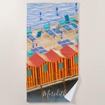 Beach Themed Custom Chic Orange and Blue Cabanas Beach Style Beach Towel