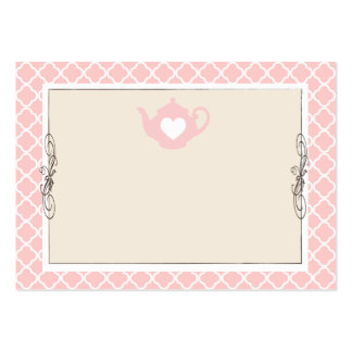 Custom Chic Tan & Pink Teapot Name Place Card Business Card Template
