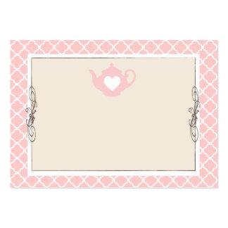 Custom Chic Tan & Pink Teapot Name Place Card Business Card Template
