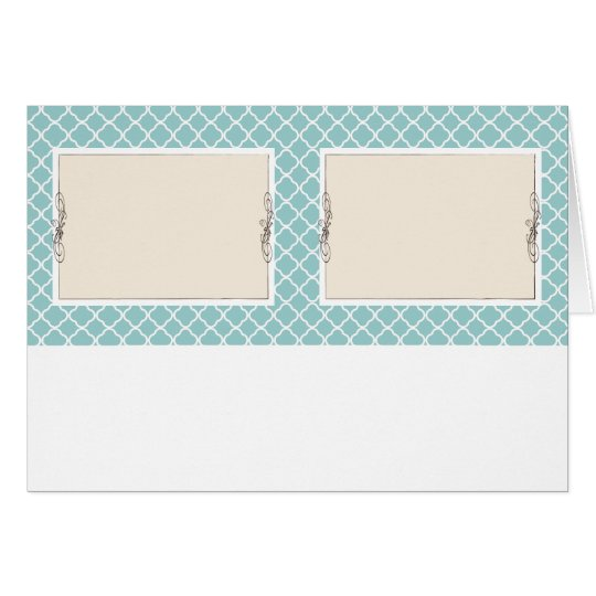 CUSTOM Chic Tan & Teal Trellis Two-up Place Card