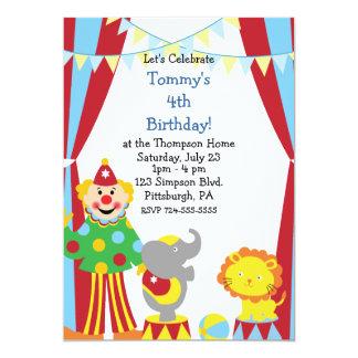 Custom Child Circus Birthday Party 5x7 Paper Invitation Card