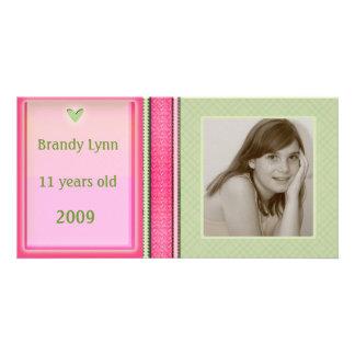 Custom Child / Family Pink & Green Photo Card