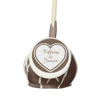Custom Chocolate and White Heart Wedding Cake Pop