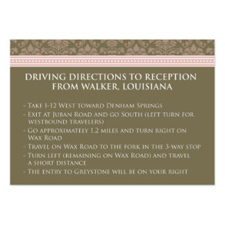":custom: Chocolate/Pink Damask 3.5x2.5"" Reception Large Business Cards (Pack Of 100)"