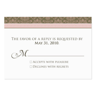 ":custom: Chocolate/Pink Damask 3.5x2.5"" RSVP Large Business Cards (Pack Of 100)"