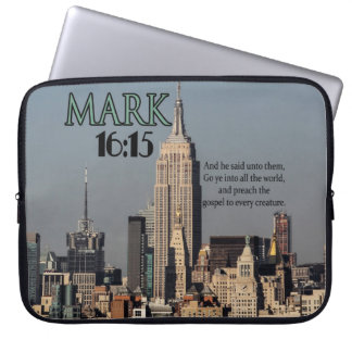 CUSTOM CHRISTIAN BIBLE VERSE MARK 16:15 LAPTOP COMPUTER SLEEVES