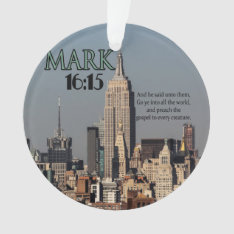 Custom Christian Bible Verse Mark 16:15 Ornament at Zazzle