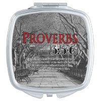 CUSTOM CHRISTIAN BIBLE VERSE PROVERBS 3:5-6 COMPACT MIRROR