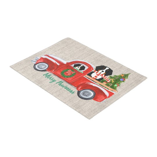 Custom Christmas Berner Dogs Red Truck Burlap Doormat