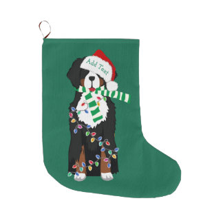 Custom Christmas Bernese Mountain Holiday Dog Large Christmas Stocking