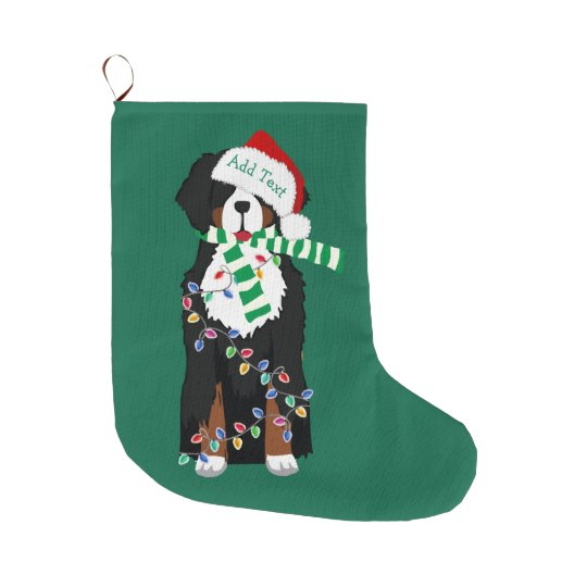 custom christmas bernese mountain holiday dog large christmas stocking - Large Christmas Stockings