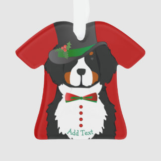 Custom Christmas Bernese Mt Dog Dapper Holiday Tux Ornament