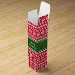 "Custom Christmas cardboard wine bottle gift boxes<br><div class=""desc"">Custom Christmas cardboard paper wine bottle gift boxes. Green and red Nordic snowflake pattern design aka Ugly Christmas Sweater print. Cute design with personalized Merry Christmas greetings and family name. Trendy Holiday party favor or thank you gift idea for friends, family, neighbors, co workers, employee, staff, personnel, company boss, business...</div>"