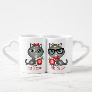 Custom Christmas Cat Couple Lover's Mugs
