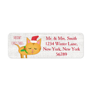 Custom Christmas Cat Return Address Labels
