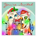 Custom Christmas Cute Santa Cats Party Invitation
