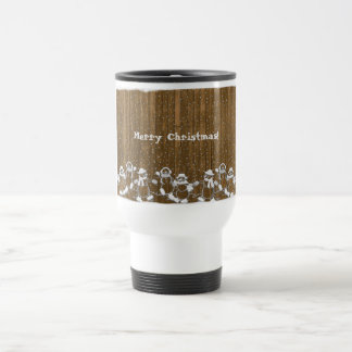 Custom Christmas Dancing Snowmen and Snowflake Travel Mug