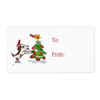 Custom Christmas Dog Cardinals Gift Labels