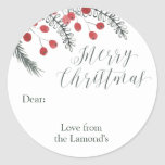 """Custom Christmas Gift Tag Stickers Round<br><div class=""""desc"""">Its the little details that make your Christmas so memorable,  personalize your Christmas gift giving with these beautiful Christmas Label stickers that can be customized with your names or message.</div>"""