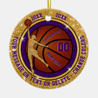 Custom Christmas Gifts for Girls Basketball Team Ceramic Ornament