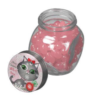 Custom Christmas Girl Cat Jelly Belly Glass Jar