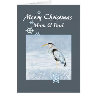 Custom Christmas Great Blue Heron Bird Scripture Card