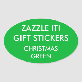 Custom CHRISTMAS GREEN OVAL Card & Gift Stickers