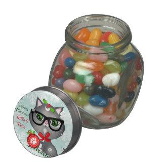 Custom Christmas Hipster Cat Jelly Belly Glass Jar