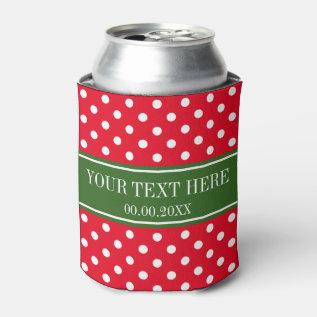 Custom Christmas Holiday Polka Dots Can Coolers Can Cooler at Zazzle