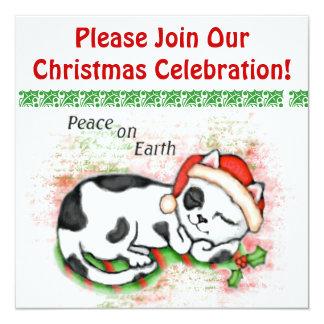 Custom Christmas Kitty Cat Party Invitation