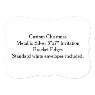 "Custom Christmas Metallic Silver 5""x7"" Invitation"