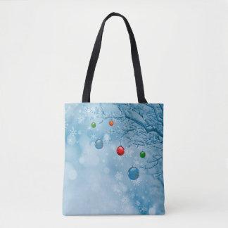 Custom Christmas Ornaments on Tree w Snow Flakes Tote Bag
